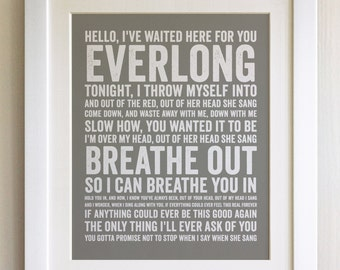 FRAMED Lyrics Print - Foo Fighers, Everlong - 20 Colours options, Black/White Frame, Wedding, Anniversary, Valentines, Fab Picture Gift