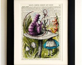 FRAMED ART PRINT on old antique book page - Alice in Wonderland, Caterpillar, Vintage Upcycled Wall Art Print Encyclopaedia Dictionary Page