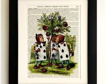 FRAMED ART PRINT on old antique book page - Alice in Wonderland, Playing Cards Vintage Upcycled Wall Art Print Encyclopaedia Dictionary Page
