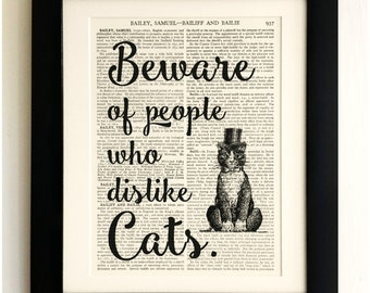 FRAMED ART PRINT on old antique book page - Beware of people who dislike Cats, Vintage Upcycled Wall Art Print Encyclopaedia Dictionary Page
