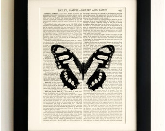 FRAMED ART PRINT on old antique book page - Big Black/White Butterfly, Insect, Vintage Upcycled Wall Art Print Encyclopaedia Dictionary Page