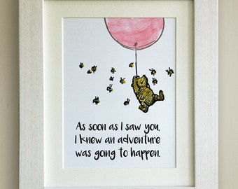 FRAMED Winnie the Pooh QUOTE PRINT, Pink Balloon, New Baby/Birth Nursery Picture Gift, Pooh Bear, Framed or just mounted, Choice of 3 frames