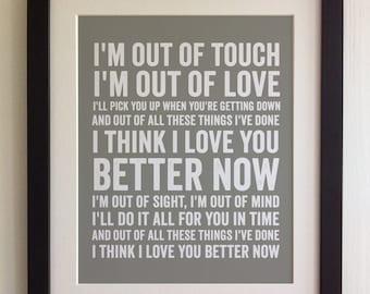 FRAMED Lyrics Print - Ed Sheeran, Lego House - 20 Colours options, Black/White Frame, Wedding, Anniversary, Valentines, Fab Picture Gift