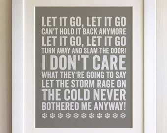 FRAMED Lyrics Print - Frozen, Let it Go - 20 Colours options, Black/White Frame, Wedding, Anniversary, Valentines, Fab Picture Gift