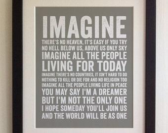 FRAMED Lyrics Print - John Lennon, Imagine - 20 Colours options, Black/White Frame, Wedding, Anniversary, Valentines, Fab Picture Gift
