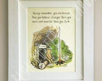 FRAMED Winnie the Pooh QUOTE PRINT, New Baby/Birth Nursery Picture Gift, Pooh Bear, Framed or just mounted, Choice of 3 frames, Piglet