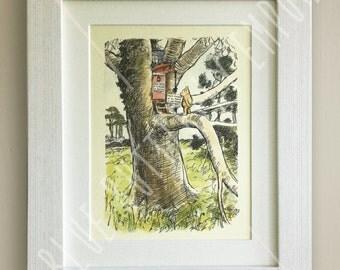 Winnie the Pooh PRINT, Birth, Christening, Nursery Picture Gift, Pooh Bear, *UNFRAMED* Beautiful Gift, Tree