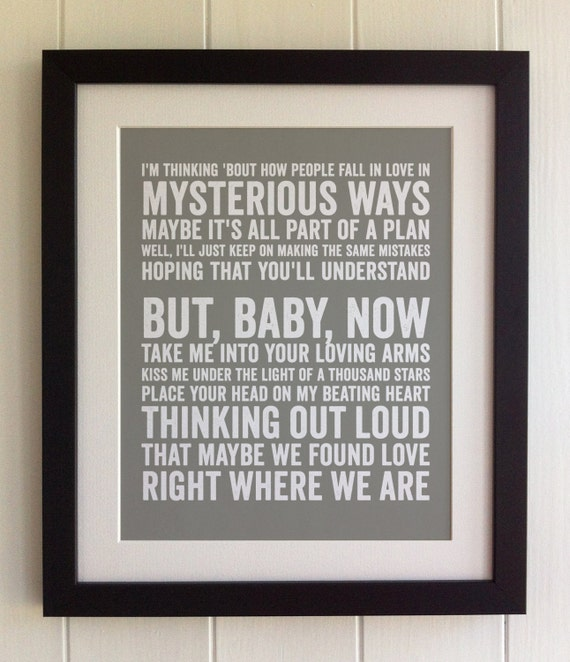 FRAMED Lyrics Print Ed Sheeran Thinking Out Loud 20