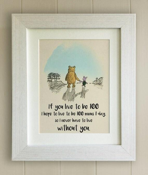 Winnie The Pooh Quote Print Birth Christening Nursery