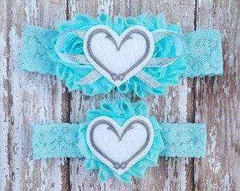 Fish Hook Hearts Garter Set   Something Blue Fishing Hooks Wedding Garters   Bridal Garter and Toss Garter   Other Colors Available