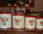 Vintage Nesting Tin Canisters, floral motif, red rose, kitchen storage, home and living, kitchen decor retro