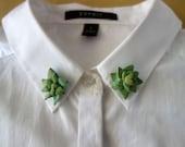 Succulent/Cactus Collar Pins - Handmade Polymer Clay - Set of 2