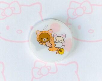 Pack of two Rilakkuma, Korilakkuma and Kiiroitori Brooches | Cat Costume | Space Time | Kawaii | リラックマ | コリラックマ | キイロイトリ