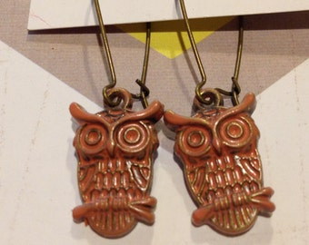 Ollie the Owl... Coral Earrings