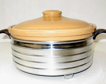 1940's Vintage Stoneware Casserole with Gleaming Chrome & Bakelite Holder!