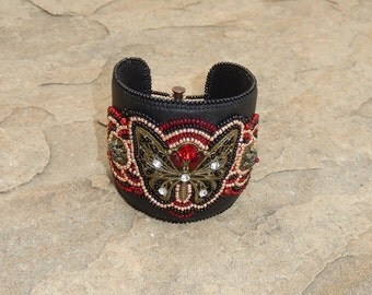 15% OFF NEXT Day Shipping! Handcrafted Southwest Style Gray Black Leather Beaded Cuff Bracelet with Butterfly, Woman's Leather Beaded Cuff