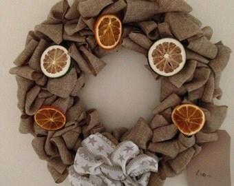 SALE handmade Hessian door wreath with oranges