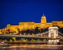 Budapest Night Photography Print - Royal Palace and Szechenyi Bridge - Fine Art Photography - Budapest Print - Photography - Wall Art