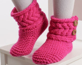 Hand Knitted Cozy Cable Kid Slippers