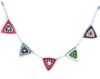 Crochet Garland, Triangle Crochet Bunting, Granny Square Flag Garland, Rainbow Colors, Wall Hanging by LoveKnittings