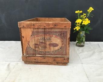 Vintage Cape Cod Wood Cranberry Crate - Merchant's Best - Wooden Crate - Boston - Advertising - Produce Crate - Cranberries - Cape Cod