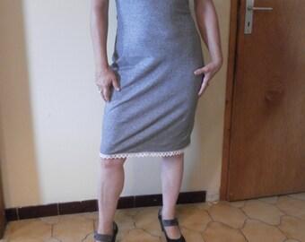 Organic hemp/cotton striped blue-white dress