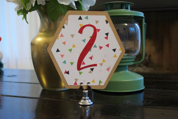 Geometric Primary Color Confetti Table Numbers - Hexagon Table Numbers - Red Foil Table Numbers - Geo Wedding