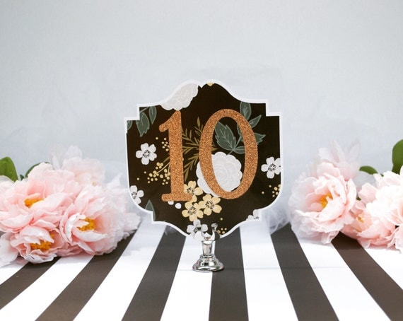 Floral Art Deco Table Numbers - Botanical Table Numbers - Black and Copper Table Numbers - Art Nouveau