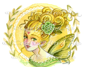 Digital Stamp - Instant Download - Green Pixie - Fantasy Line Art for Cards & Crafts by Artist Sara Burrier for Crafts and Me