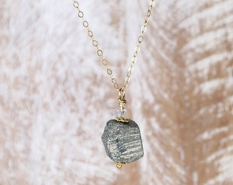 Natural Raw Pyrite or Fools Gold Cube Pendant Necklace