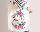 Personalised Name Pink Floral Wreath Tote Bag, Bridesmaid Tote Bag, Bridesmaid Gift, Custom Floral Tote Bag