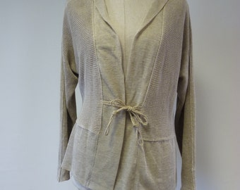 Feminine amazing natural linen cardigan, M size. One-of-a-kind.