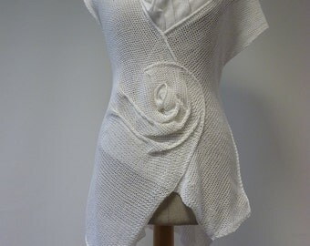 Sale, new price 55 Euro, original price 62 Euro. Amazing asymmetric white linen top, M/L size. Handmade, only one sample.