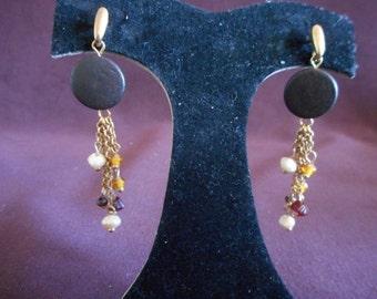 Wood Disk Dangle Beaded Pierced Earrings **Free Shipping**