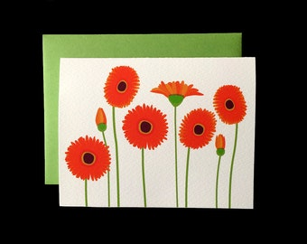Orange Gerbera - Greeting Card w/ Green Envelopes