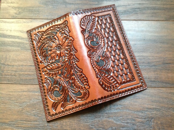 Leather roper wallet hand carved walletcheckbook top