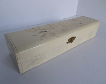 Antique Celluloid Victorian Glove Box with Raised Daisies