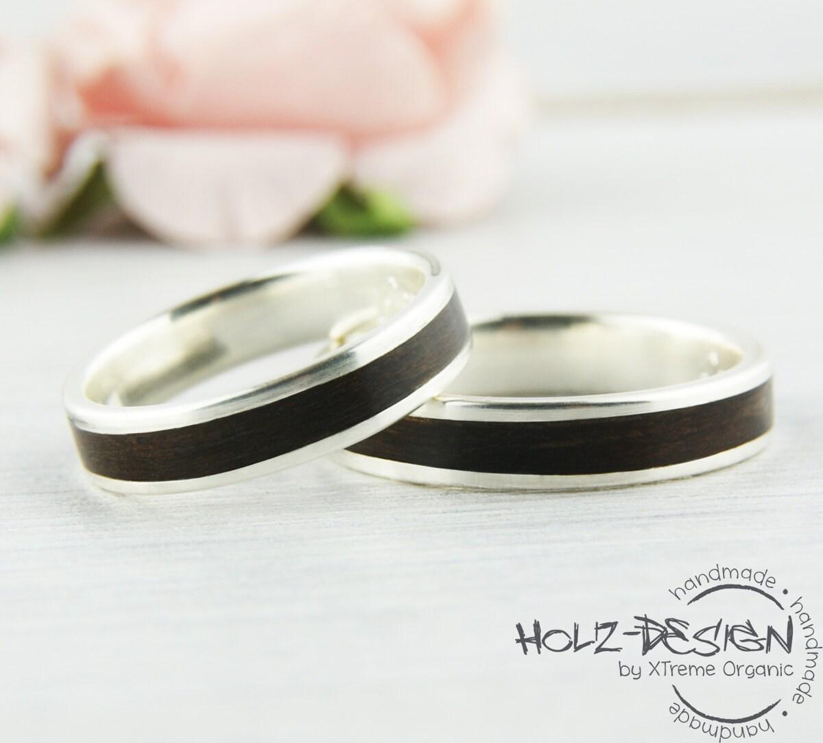 935 silber ring mit holz breit bentwood eheringe. Black Bedroom Furniture Sets. Home Design Ideas