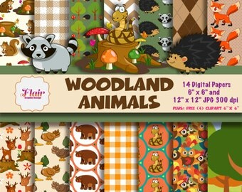 WOODLAND ANIMALS Digital Papers, Raccoon, Hedgehog, Deer, Snake, Bear, Squirrel, Owl, Gingham, Forest, Woodland Birthday Theme