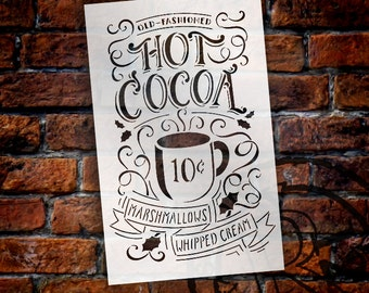 Old Fashioned Hot Cocoa Vintage Sign Stencil - Select Size - STCL1384 - by StudioR12