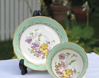 Vintage Tuscan Fine Bone China Floral Cup and Saucer