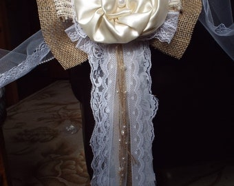 Burlap Vintage Lace Wedding Bow-Pew bow Shabby Rustic Chic Decorations