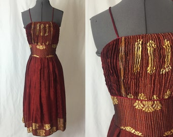 Xs/small ** 1970s BURGUNDY and gold embroidered dress ** Deep red wine seventies party dress sun dress folk dress