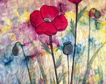 Handmade fiber art/handpainted quilting/fabric paint/wall decor--poppies
