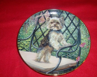 The Danbury Mint Garden Seat A limited edition from collection Yorkie Pals decorative plate