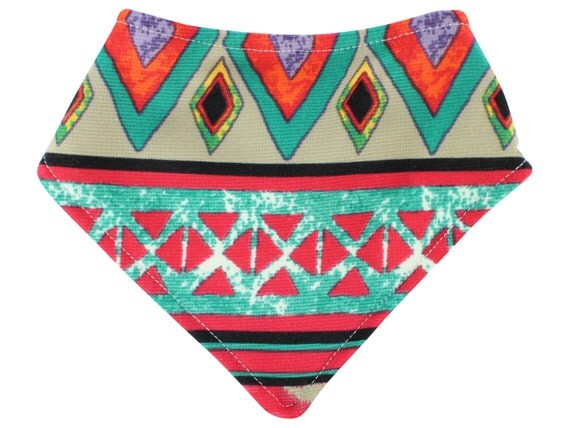 Red Orange Tribal Aztec Bandana Bib Bibdana Baby Bib Drool Bib Unisex Tribal Bib Boy Bibdana Organic Bamboo Baby Terry Toddler Bib