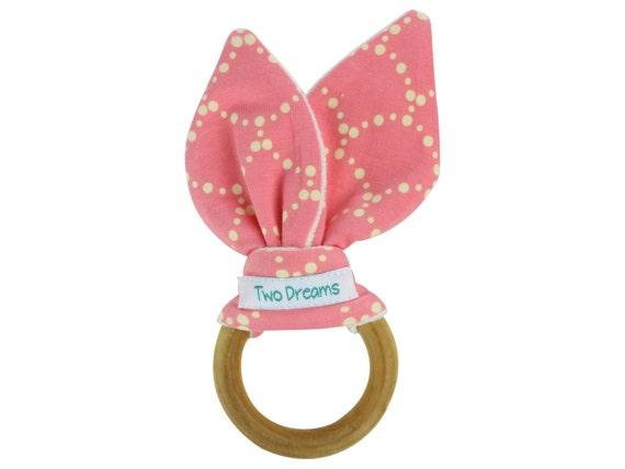 Pink Natural Organic Wooden Teething Ring Toy Natural Maple Teething Ring Girly Pink Teether Toy Bamboo Organic Terry Girl Baby Teething