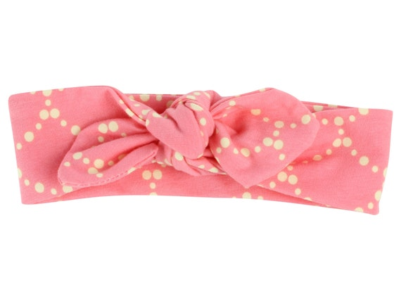 Pink and Cream Baby Top Knot Headband Pink Adult Knot Headband Baby Headwrap Adult Headwrap Knotted Headband Knotted Headwrap Pink and Cream