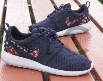 American Flag Pride Nike Roshe Run Navy Blue Custom Men Women & Kids