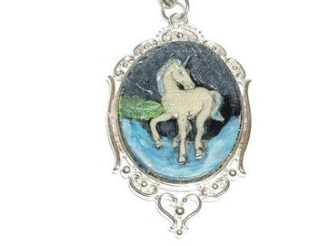 Unicorn Cameo Necklace, Unicorn Jewelry